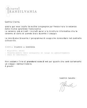 Lettera Agenzia Travel Transilvania